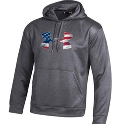 Under Armour Logo American Flag Performance Hoodie - Grey