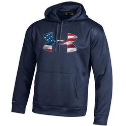 American Flag Under Armour Logo Performance Hoodie - The Flag Shirt
