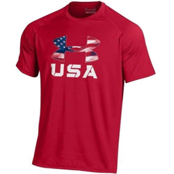 USA Flag Under Armour Logo  Performance T-Shirt (Red) - The Flag Shirt