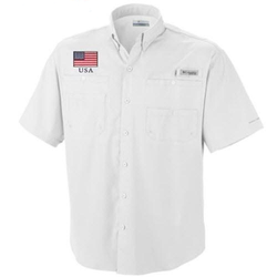Columbia Short Sleeve Bahama Shirt - American Flag Patch