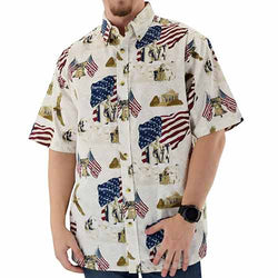 USA Rushmore Woven 100% Cotton Patriotic Polo Shirt - theflagshirt
