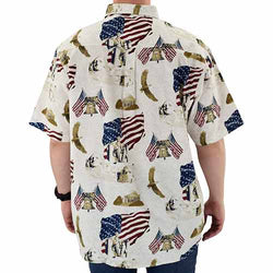 USA Rushmore Woven 100% Cotton Patriotic Polo Shirt