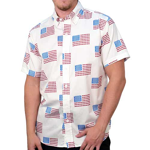 Mens Short Sleeve USA Flag Shirt - theflagshirt