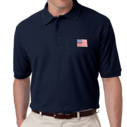US Flag Patch Mens Polo Shirt - Navy - The Flag Shirt