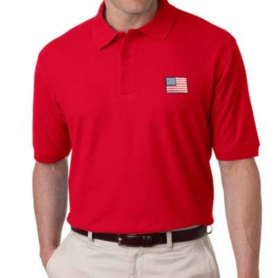 US Flag Patch Mens Polo Shirt - Red - The Flag Shirt