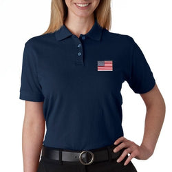 US Flag Patch Womens Polo Shirt - Navy - The Flag Shirt