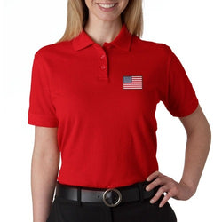 US Flag Patch Womens Polo Shirt - Red - The Flag Shirt
