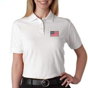US Flag Patch Womens Polo Shirt - White - The Flag Shirt