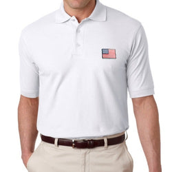 US Flag Patch Mens Polo Shirt - White - The Flag Shirt