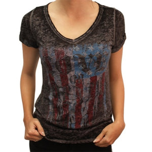 Juniors Patriotic Burnout Tee - The Flag Shirt