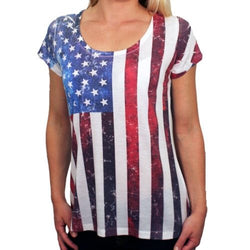 Vertical Flag Scoop Neck T-Shirt for Women - The Flag Shirt