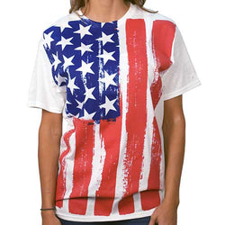 Distressed USA Vertical Flag Women's Tee