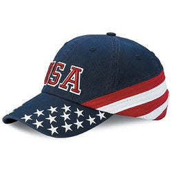 WH-7642C-Twill America Flag Hat -USA Embroidery - Navy - The Flag Shirt