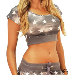 Patriotic Stars Crop Top Tee - The Flag Shirt