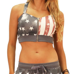 Patriotic Zip Up Crop Top - The Flag Shirt