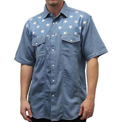 Mens Woven Short Sleeve Denim Button Closure - The Flag Shirt