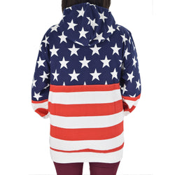Womens Patriotic Stars Hoodie Navy with Full Zip