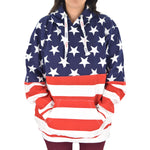 Load image into Gallery viewer, Women's Patriotic Stars Navy Hoodie Sweater - theflagshirt