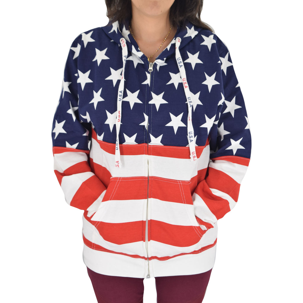 Womens Patriotic Stars Hoodie Navy with Full Zip - theflagshirt