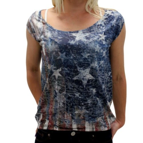 Yetts Scoop neck USA flag knit top with longer hem on back - The Flag Shirt
