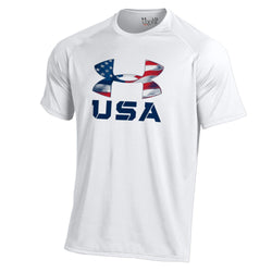 USA Flag Under Armour Logo  Performance T-Shirt ( White)