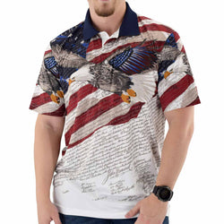 Eagle Flight Mens Polo Tech Shirt - The Flag Shirt