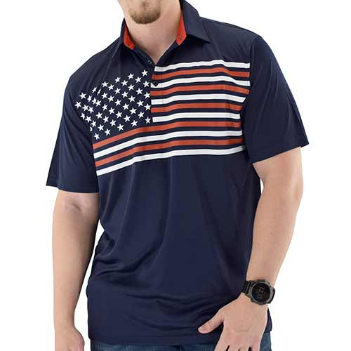 Mens Flag Flying Polo Tech Shirt - Navy - theflagshirt