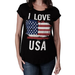 I Love USA Womens Rhinestones T-Shirt