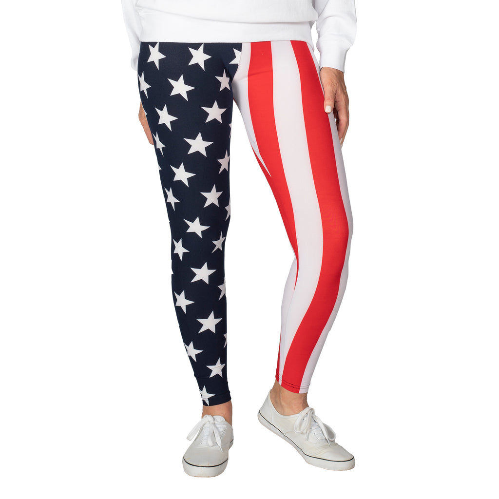 Women's American Flag Patriotic Leggings - theflagshirts