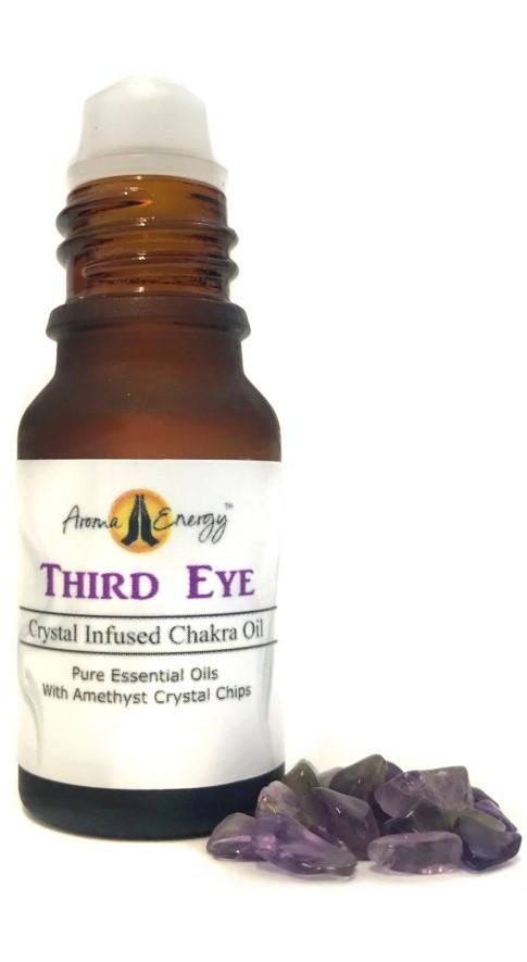 Third Eye Chakra Roll On Oil With Amethyst Crystals - Aroma Energy