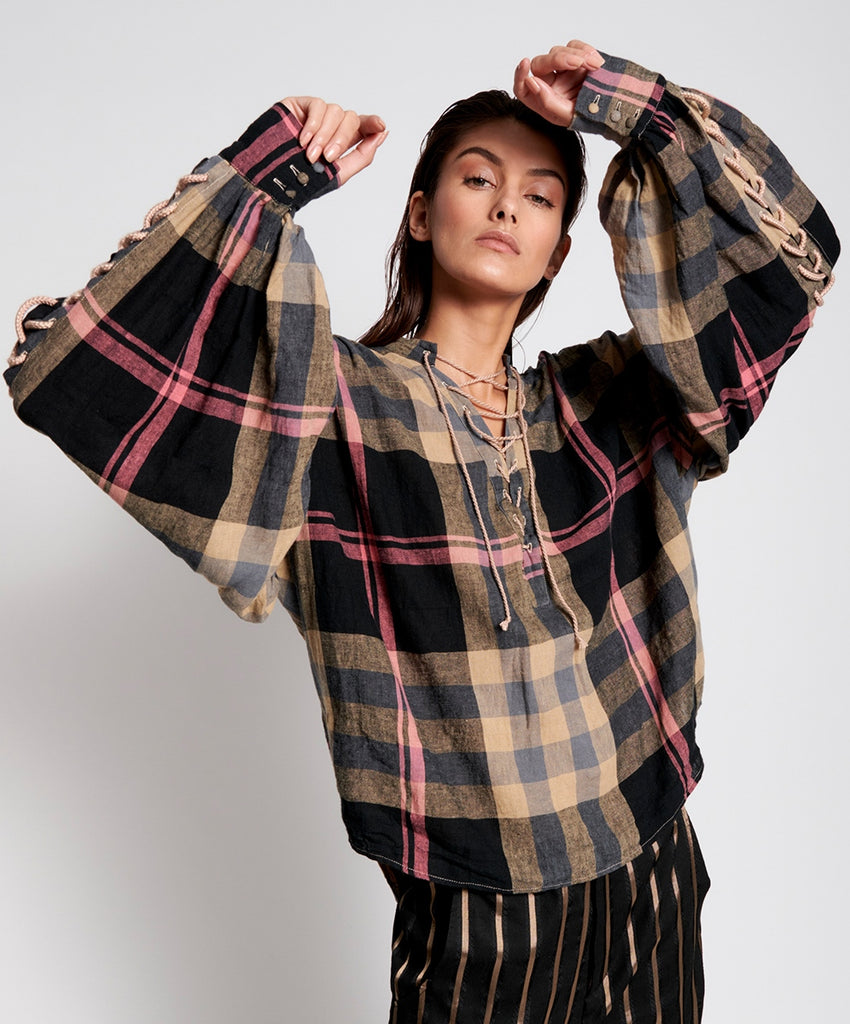 One Teaspoon Washed Check Linen Carousel Shirt
