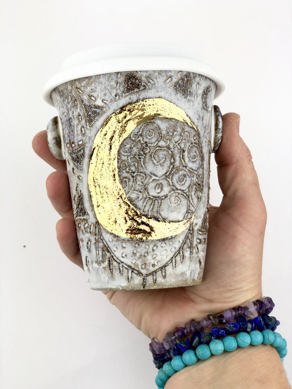 Sacred Earthscapes Crescent Moon Ceramic Travel Cup