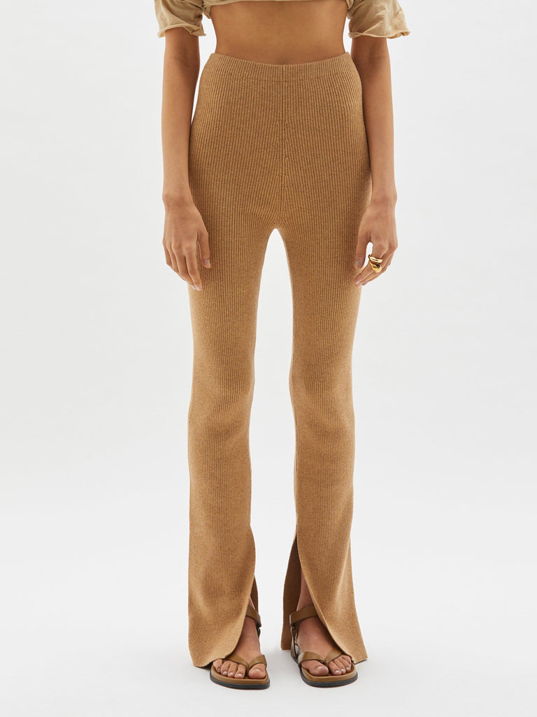 Bassike Knitted Flared Tights Caramel