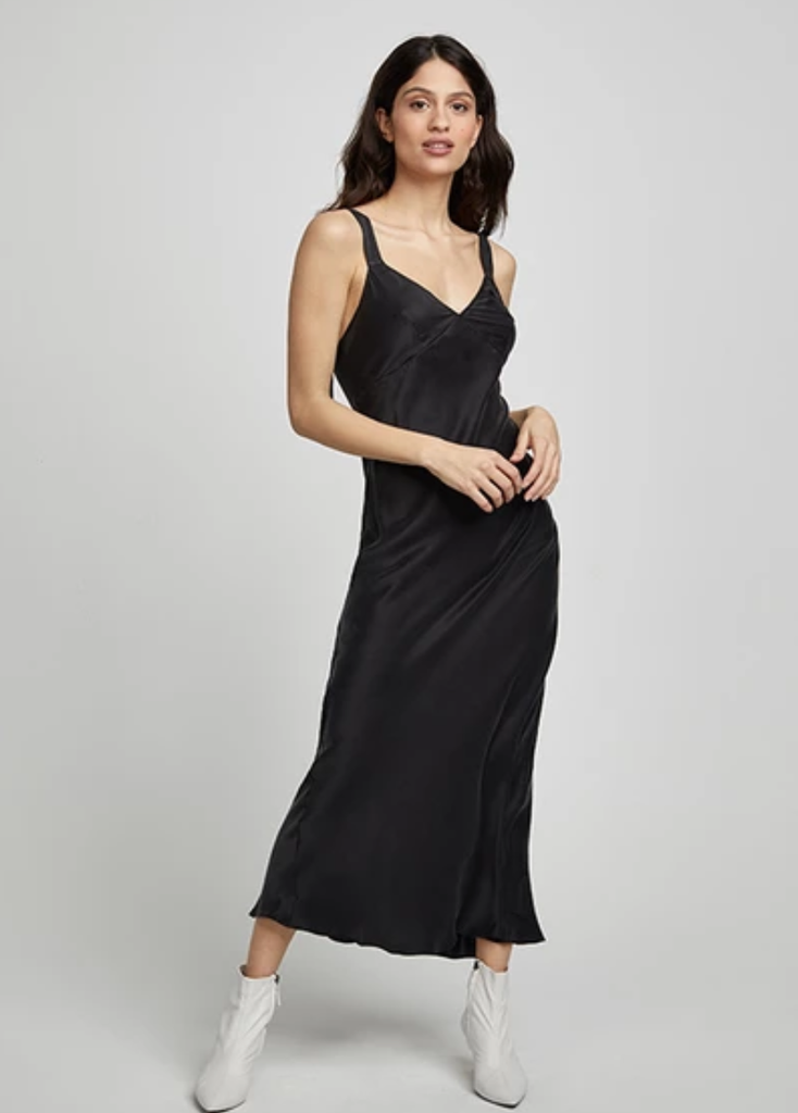 Silk Laundry Deco Slip Dress Black