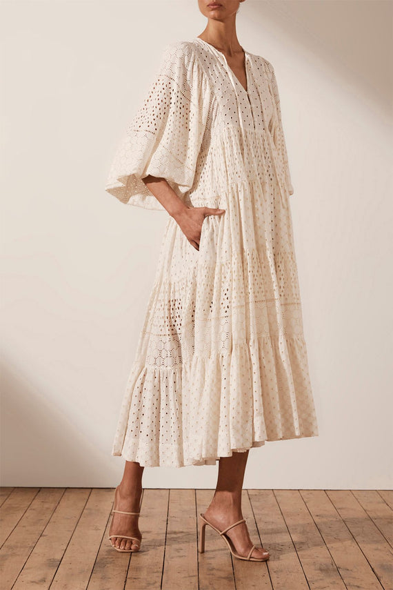 Shona Joy Vivienne Balloon Sleeve Tiered Midi Dress
