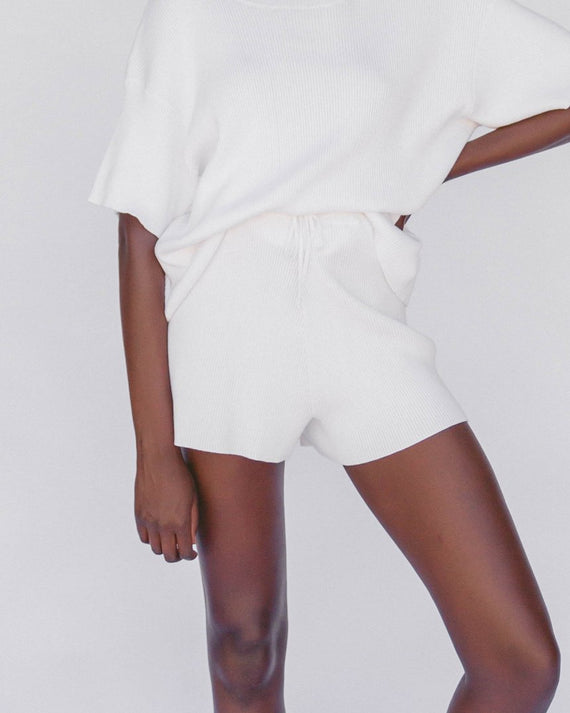 The Lullaby Club Alex Knit Shorts White
