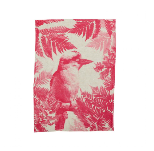 Bonnie & Neil Kookaburra Fern Lolly Pink Tea Towel