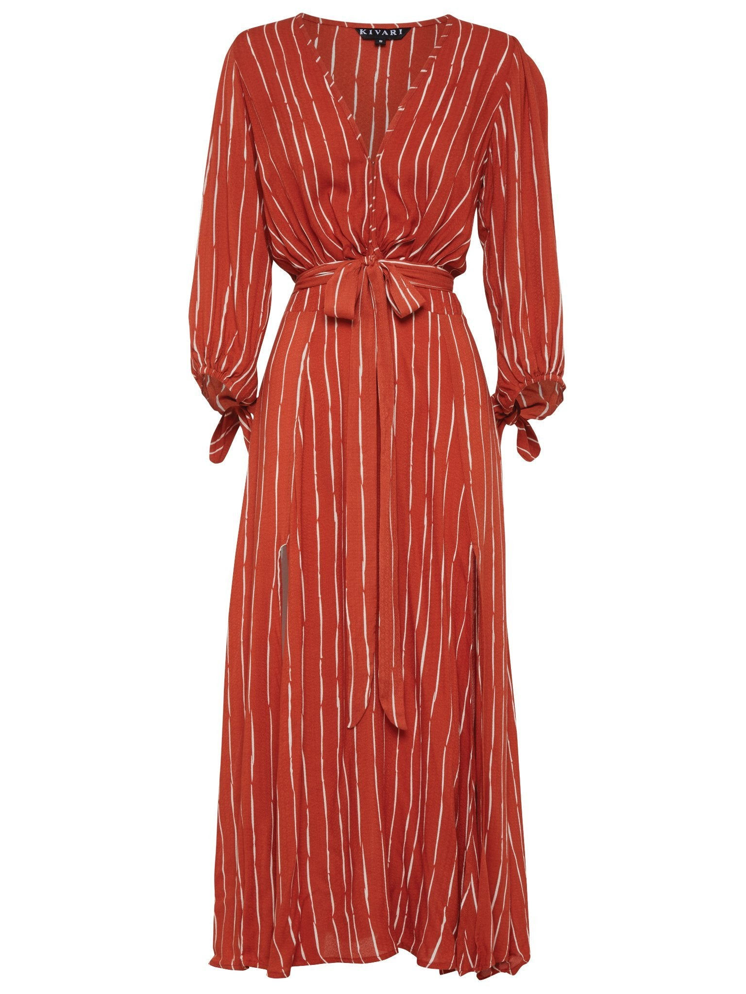 Kivari Coco Rust Tie Front Maxi Dress