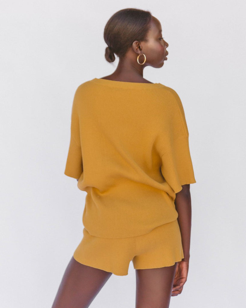 The Lullaby Club Alex Knit Tee Mustard