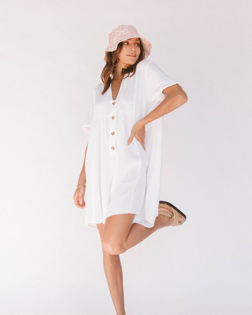 The Lullaby Club Cody Playsuit White