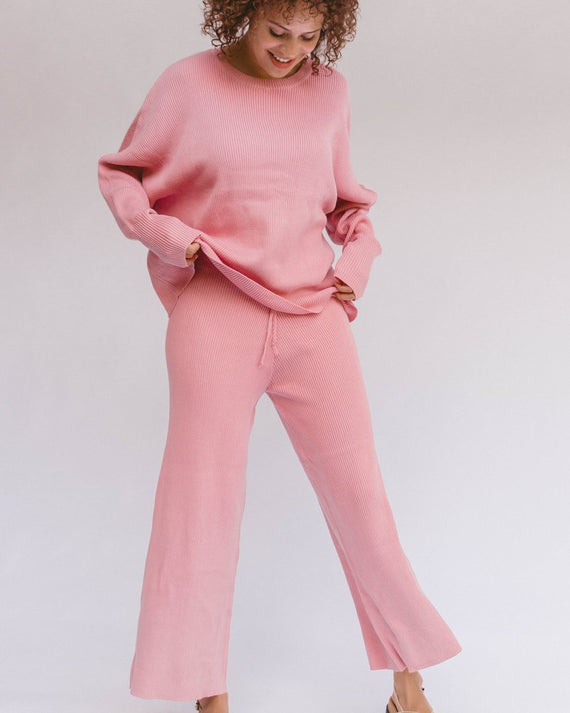The Lullaby Club Alex Knit Sweater Dusty Pink