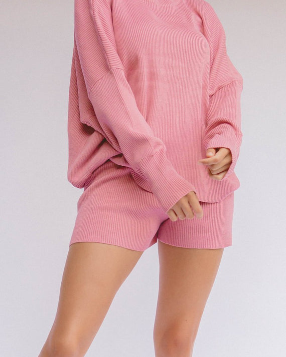 The Lullaby Club Alex Knit Shorts Dusty Pink