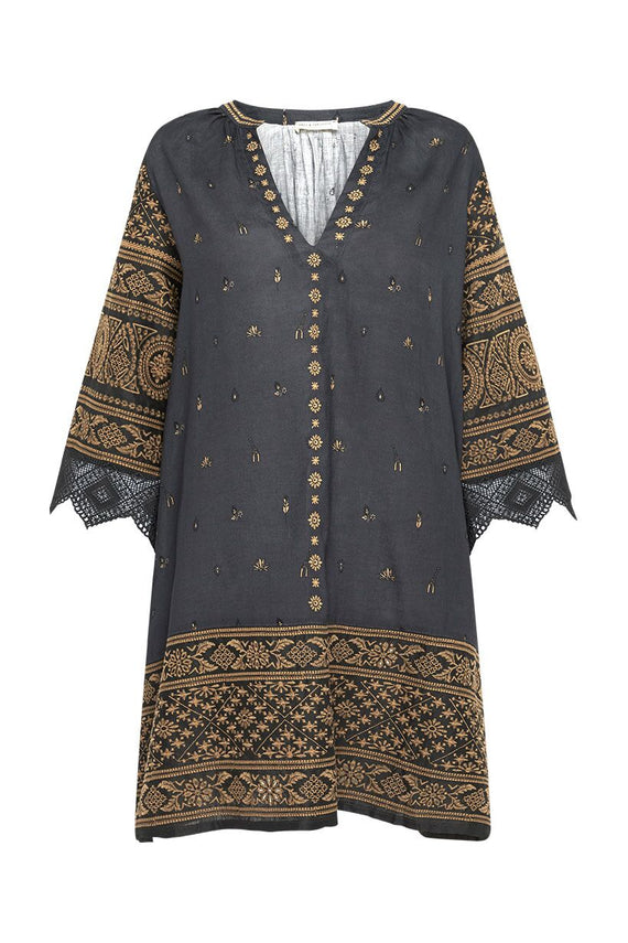 Spell Muwala Embroidered Tunic Shadow