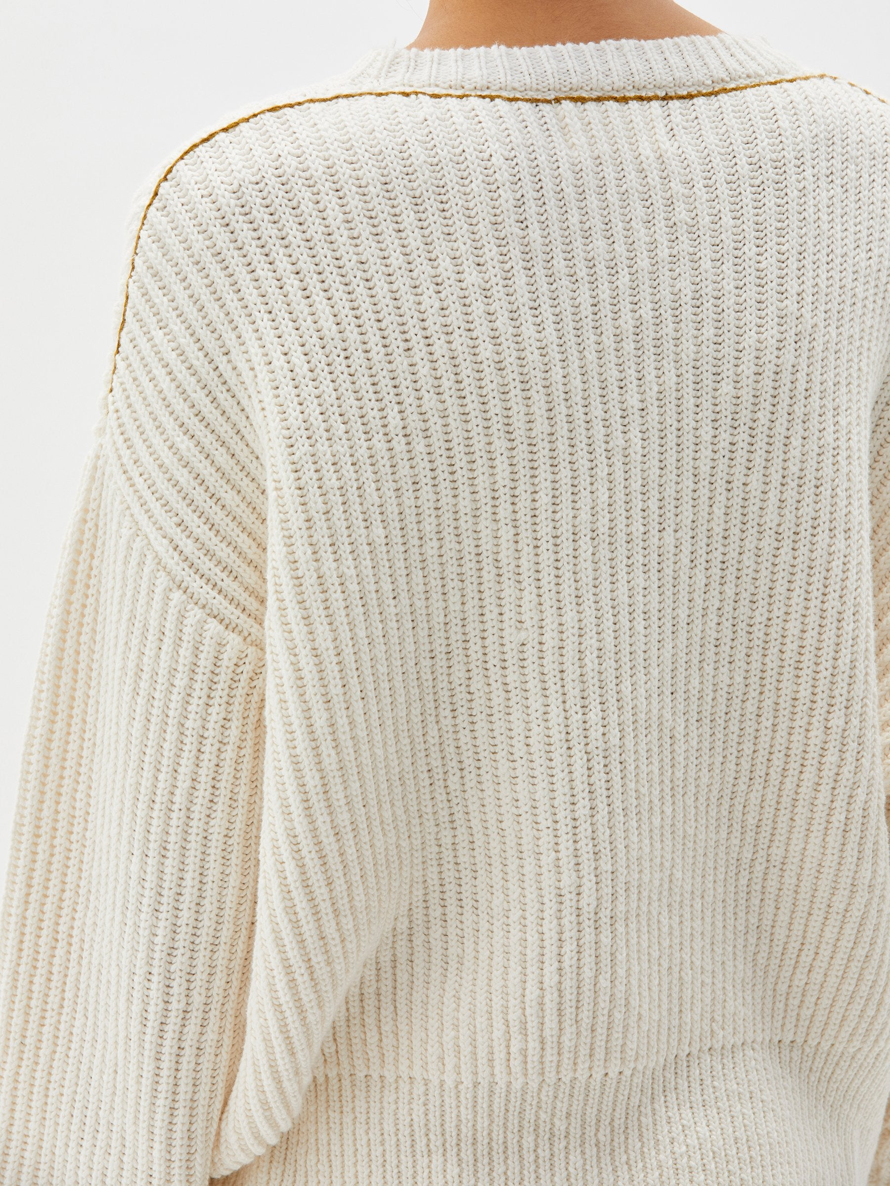 Bassike Ribbed Oversized Crew Knit White