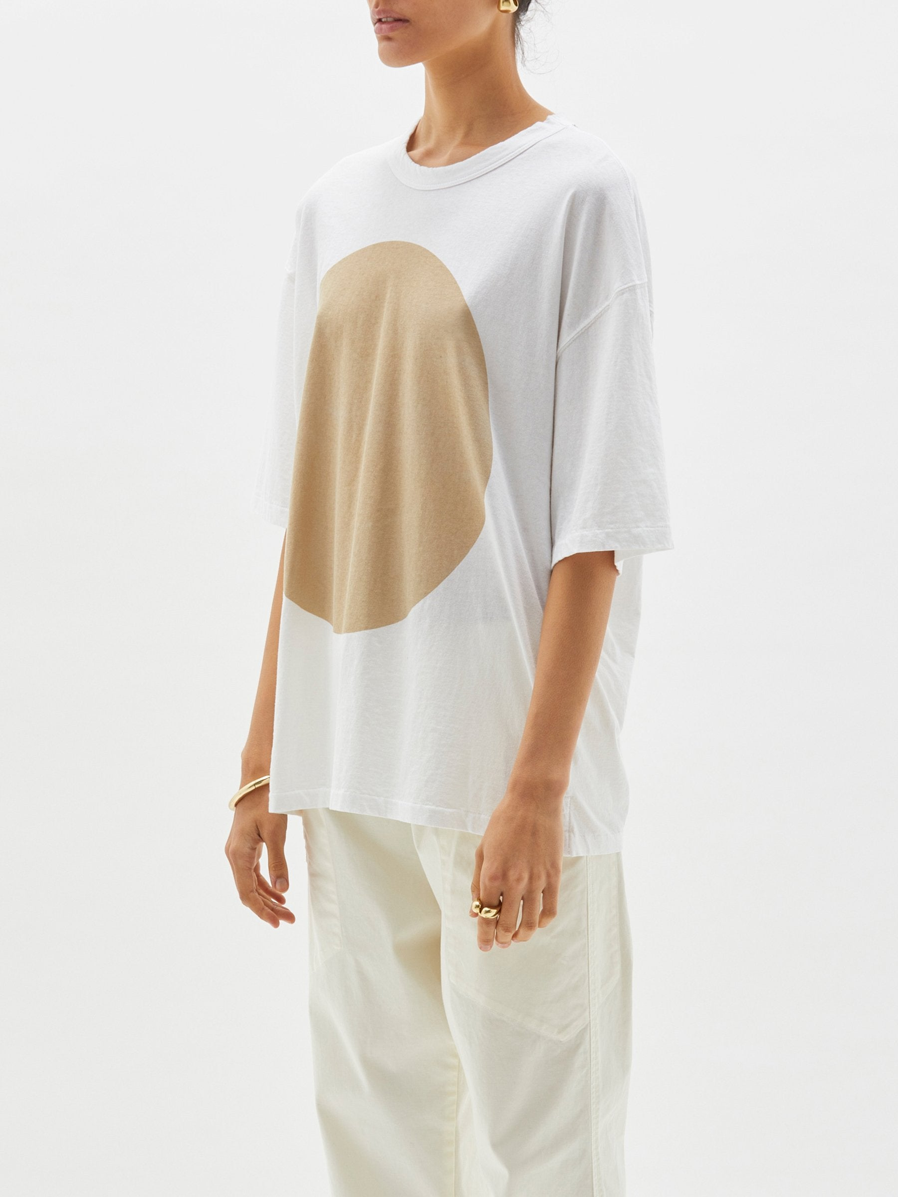 Bassike Oversized Wide Heritage Dot Short Sleeve Tshirt White/Tan