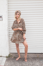 La Boheme Girls Pippa Mini Dress - Leopard
