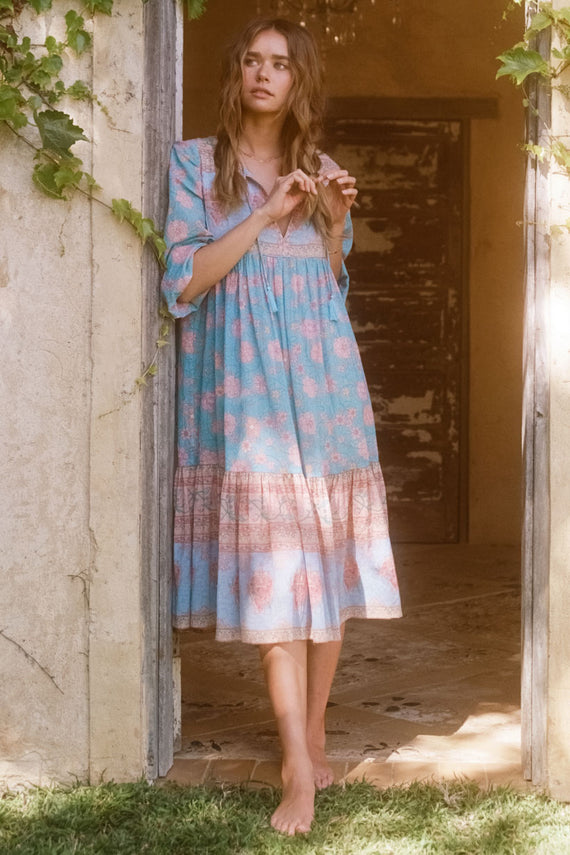Spell Love Story Boho Dress - Sky Blue