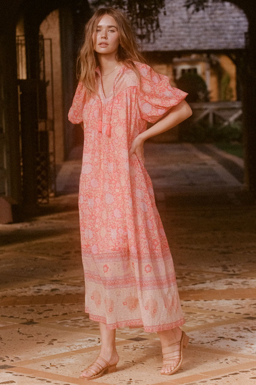 Spell Love Story Short Sleeve Boho Dress - Red Coral