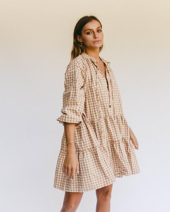 The Lullaby Club Avalon Smock Dress Caramel Gingham