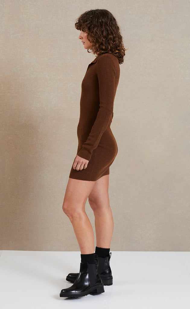 Bec & Bridge Freya L/S Knit Polo Dress Chocolate
